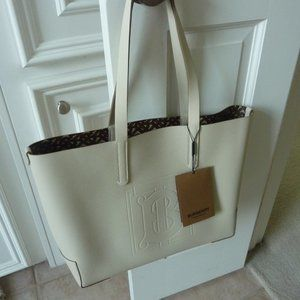 BURBERRY Limestone 'TB' Logo Leather Tote Bag NEW